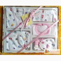 Одежда новорожденным. Подарочный комплект для новорожденной девочки 6 предметов 0-3 мес