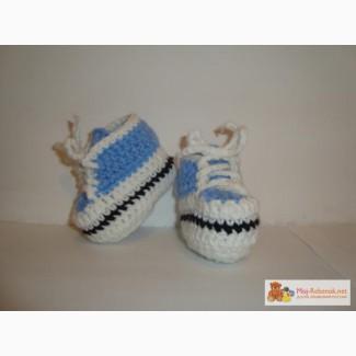 Вязаные пинетки, кроссовки для девочек и мальчиков