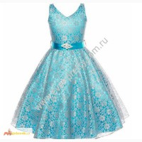 Детское платье голубое из кружева LP-1322BL в Томске